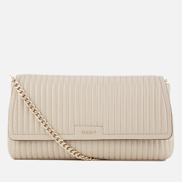 DKNY Women's Pinstripe Quilted East/West Flap Shoulder Bag - Blush Grey