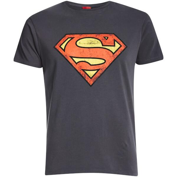 DC Comics Men's Superman Distressed Logo T-Shirt - Charcoal