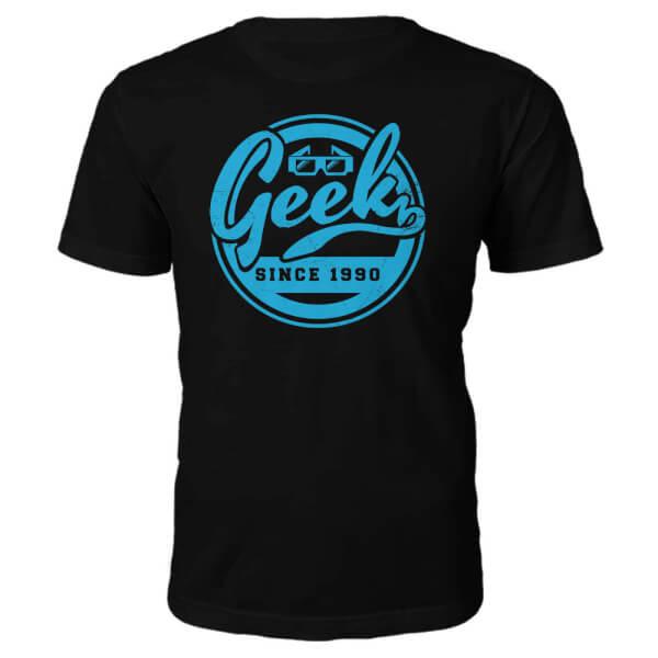 T-Shirt Geek Established 1990's -Noir