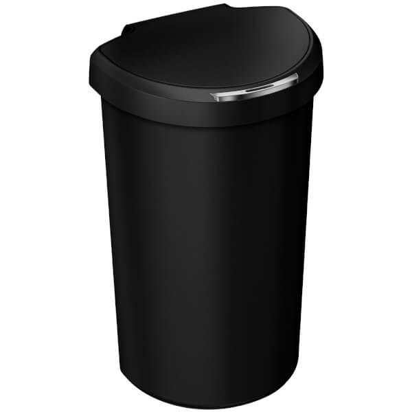 simplehuman Plastic Semi-Round Sensor Bin - Black 40L