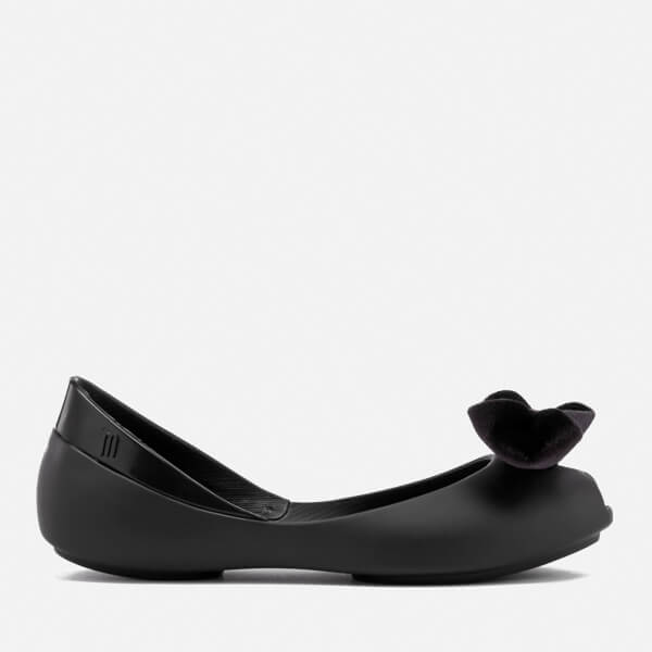 Mini Melissa Kids' Queen Velvet Bow Ballet Flats - Black