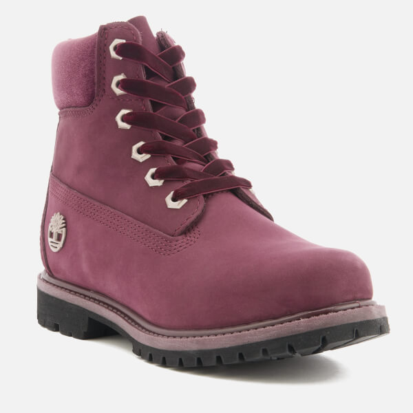 Sale Wholesale Price Timberland Women's 6 Inch Water Resistant Boots - Port Royale Waterbuck with Velvet Collar - UK 3 - Burgundy Buy Cheap Best Sale xl7Nfa1A