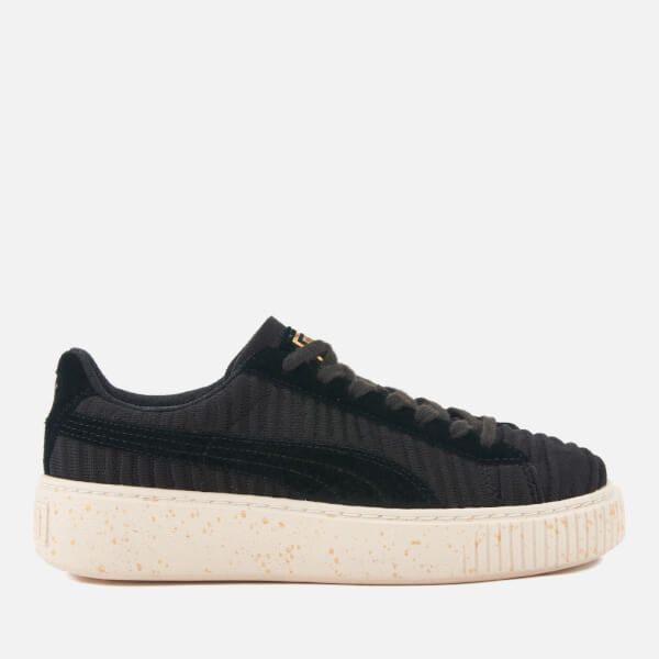 Puma Women s Basket Platform Trainers - Puma Black Puma Black Whisper White abc044eba7