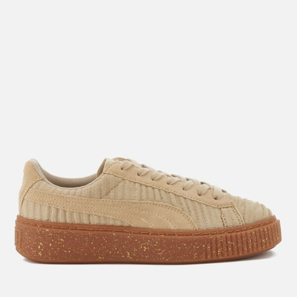 Puma Women's Basket Platform Trainers - Safari/Safari/Whisper White