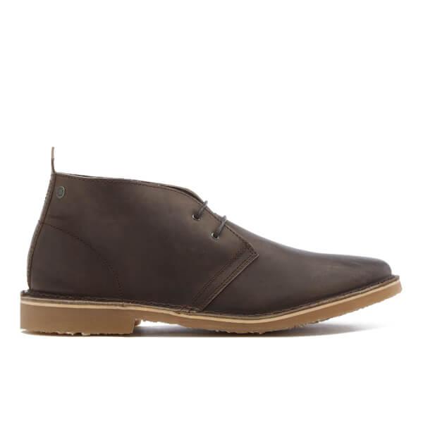 Jack & Jones Men's Gobi Leather Desert Boots - Chocolate Brown