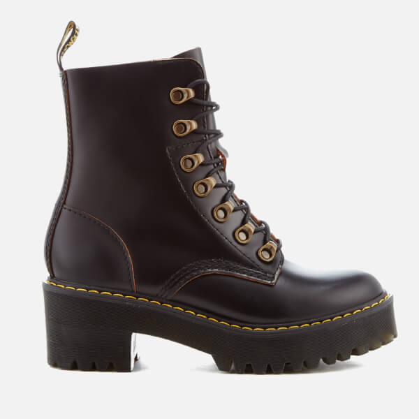 Dr. Martens Women's Leona Leather Lace Up Heeled Boots - Black