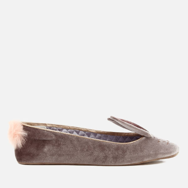 Ted Baker Women's Bellamo Velvet Bunny Slippers - Grey