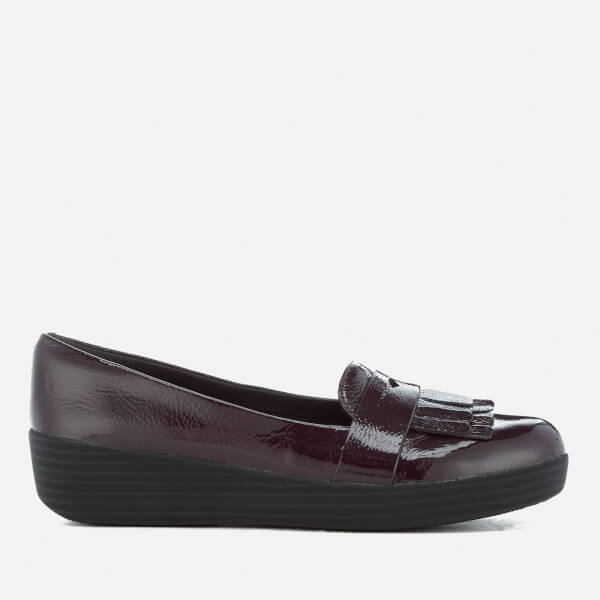 FitFlop Women's Fringey Sneakerloafer Patent Leather Flats - Deep Plum