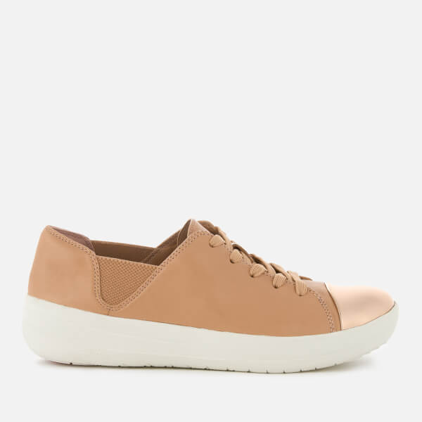9639de2618bed FitFlop Women s F-Sporty Mirror-Toe Leather Trainers - Nude  Image 1