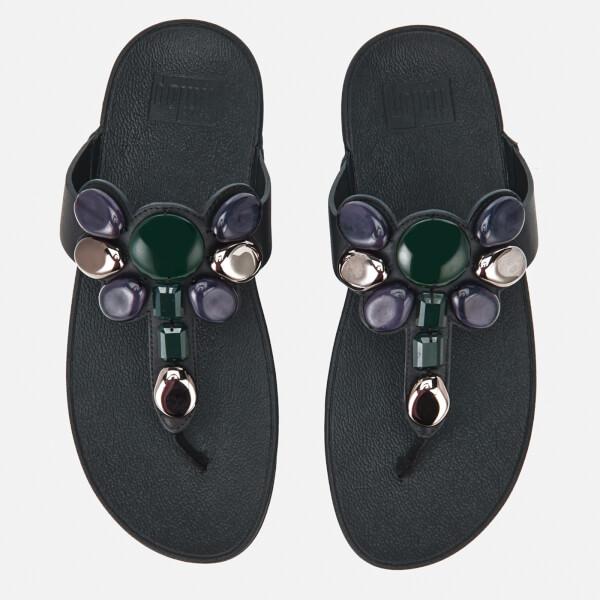 184d0b54d3e FitFlop Women s Honeybee Jewelled Toe-Thong Sandals - Black Womens ...