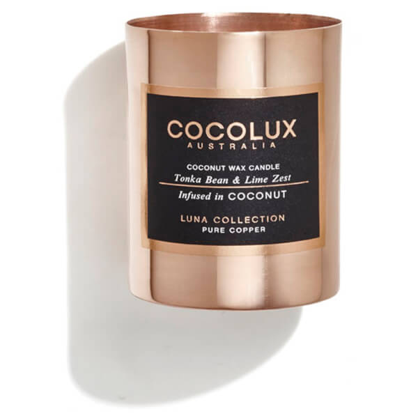 Cocolux Australia Copper Candle Luna Candle - Tonka Bean And Lime Zest 150g
