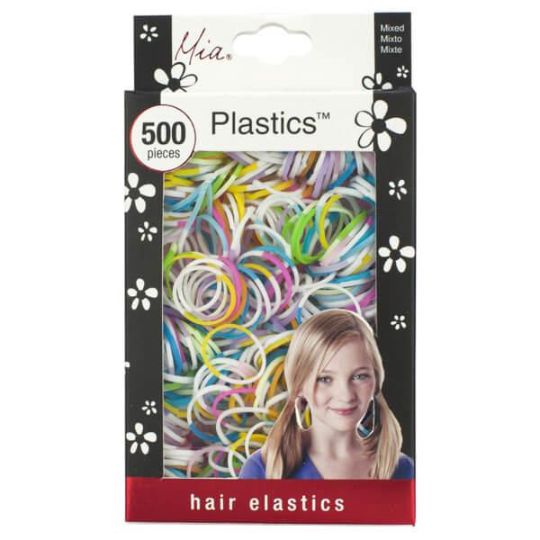 Mia Plastics Coloured Hair Elastics x 500