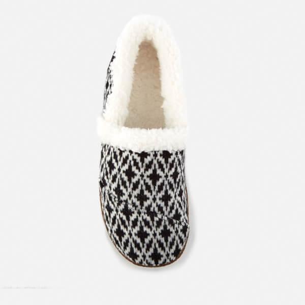 982ed84a5da TOMS Women s Full Slippers - Black White Fair Isle  Image 3
