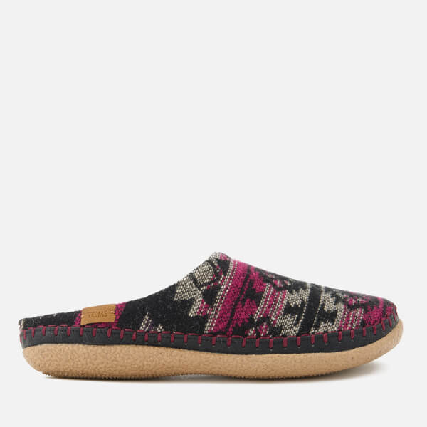 TOMS Women's Ivy Woollen Slippers - Grey/Fuchsia Tribal