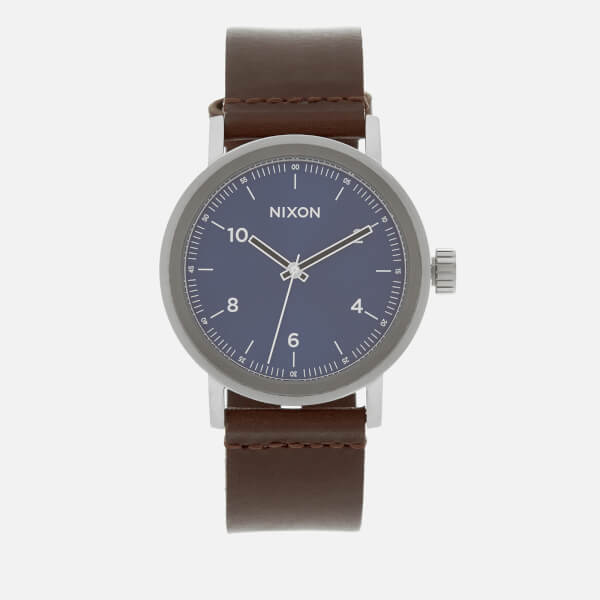 Nixon Men's The Stark Leather Watch - Blue Sunray/Brown