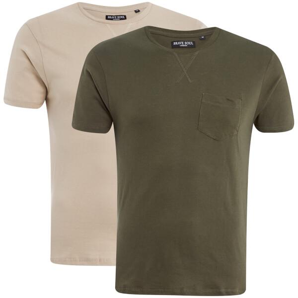 Brave Soul Men's Arkham 2 Pack T-Shirt - Khaki/Mushroom