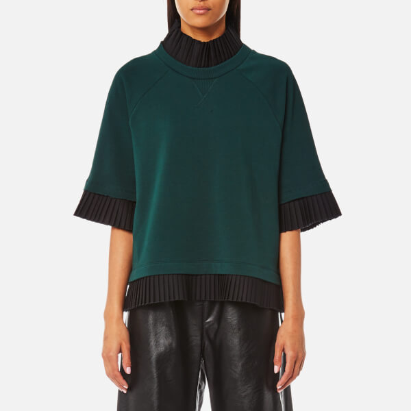 MM6 Maison Margiela Women's Short Sleeve Sweatshirt with Frill - Pine