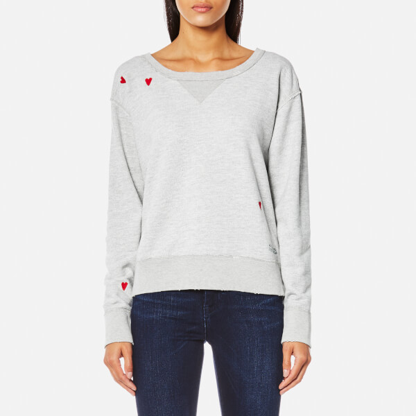 Maison Scotch Women's Loose Fit Heart Sweatshirt - Grey Melange