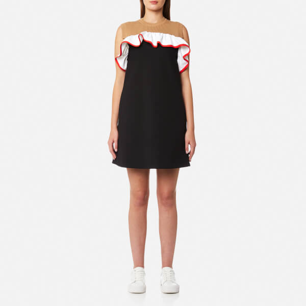 MSGM Women's Frill Collar Dress - Black/Red