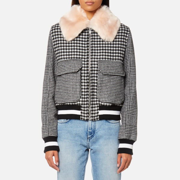 MSGM Women's Check Bomber Jacket with Fur Collar - Black
