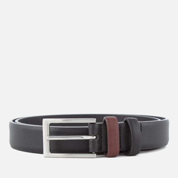 Ben Sherman Men's Bonded Leather Saffiano Belt - Black/Red