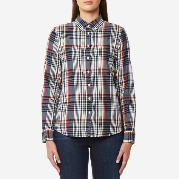 GANT Women's Twill Flannel Check Slim Shirt - Cream