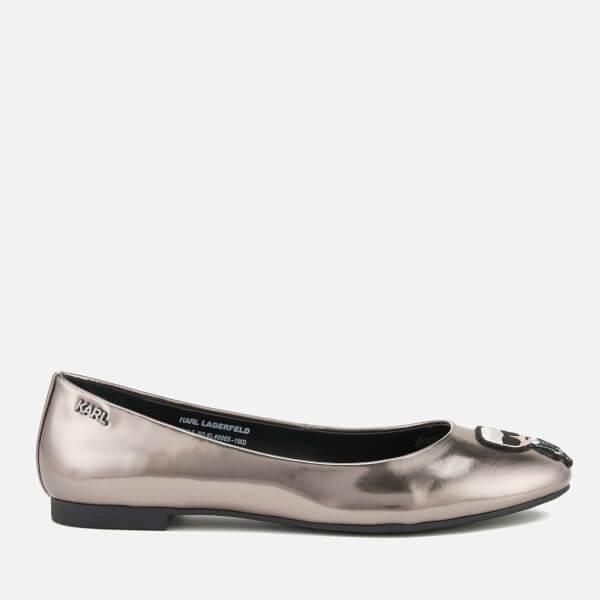 Karl Lagerfeld Women's Leather Klara Ikonic Ballet Flats - Dark Silver Mirror