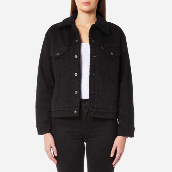 levi 39 s women 39 s sherpa trucker jacket jet black night. Black Bedroom Furniture Sets. Home Design Ideas