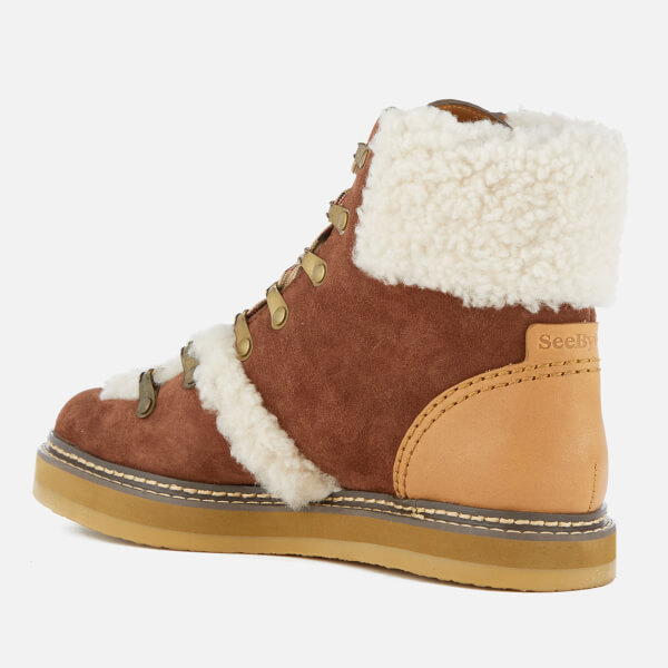 Chloé Women's Suede Shearling Lined Hiking Boots - - UK 4 gGYwh