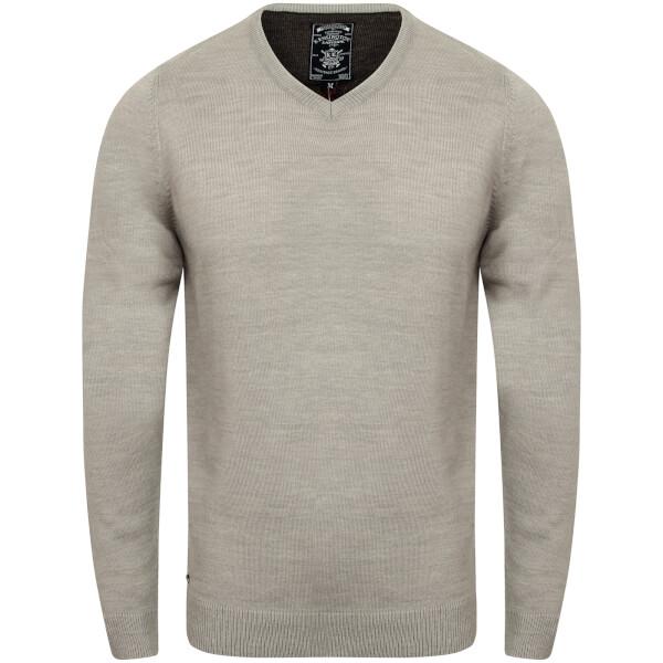 Kensington Men's Basic V Neck Jumper - Light Grey Marl