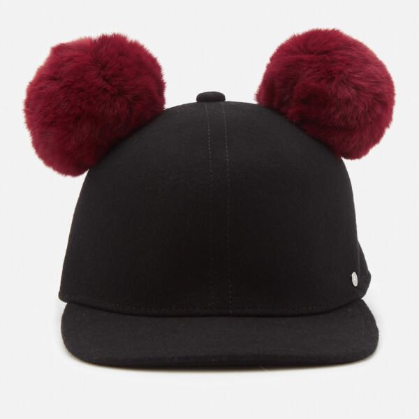 Karl Lagerfeld Women's K/Cat Pom Pom Cap - Black