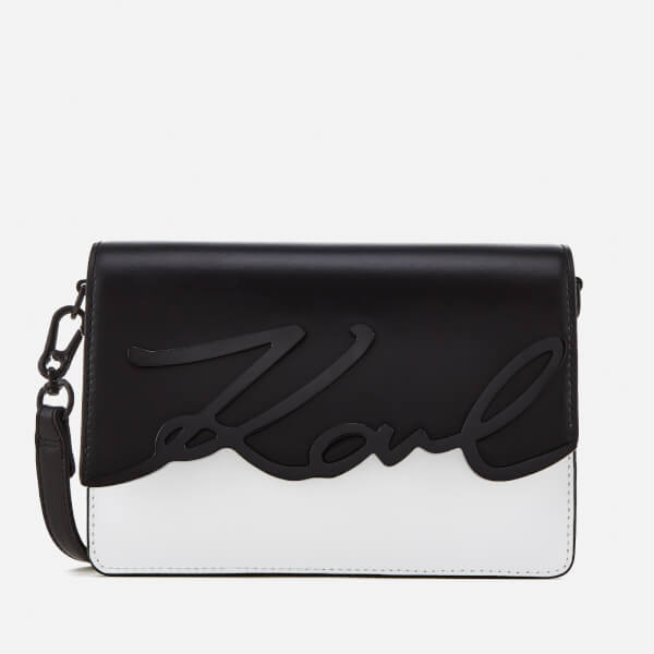 Karl Lagerfeld Women s K Metal Signature Shoulder Bag - Black White  Image 1 7dd0a44277883