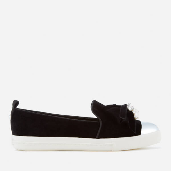 Miss KG Women's Lottie Velvet Pointed Slip-On Trainers - Black