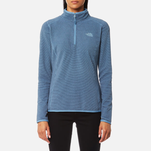 827883c583 The North Face Women s 100 Glacier 1 4 Zip Fleece Jumper - Provincial Blue  Stripe