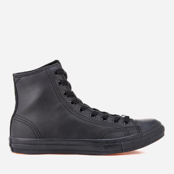 Superdry Men's Trophy Series Leather Like Hi-Top Trainers - Black Mono