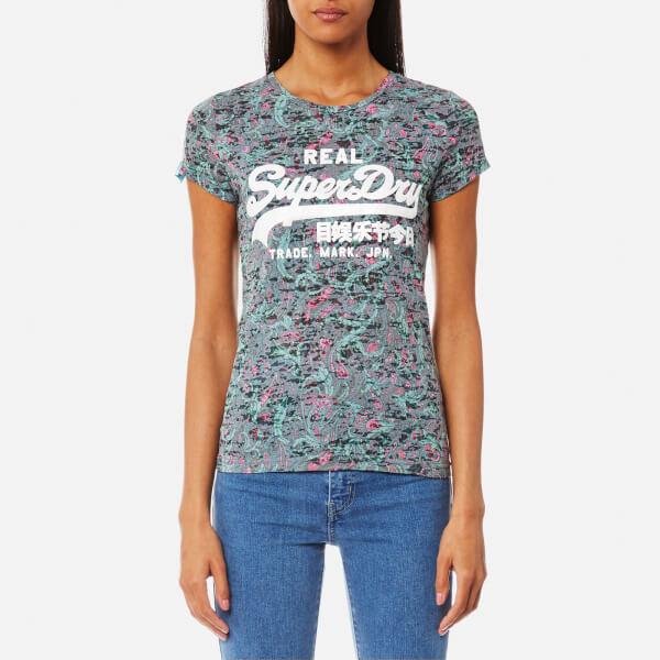 Superdry Women's Vintage Logo Burn Out Aop T-Shirt - Green