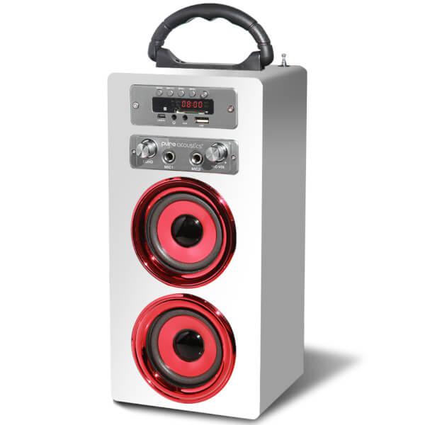 Pure Acoustics MCP-20 Bluetooth Karaoke Speaker (Including Mic) - White