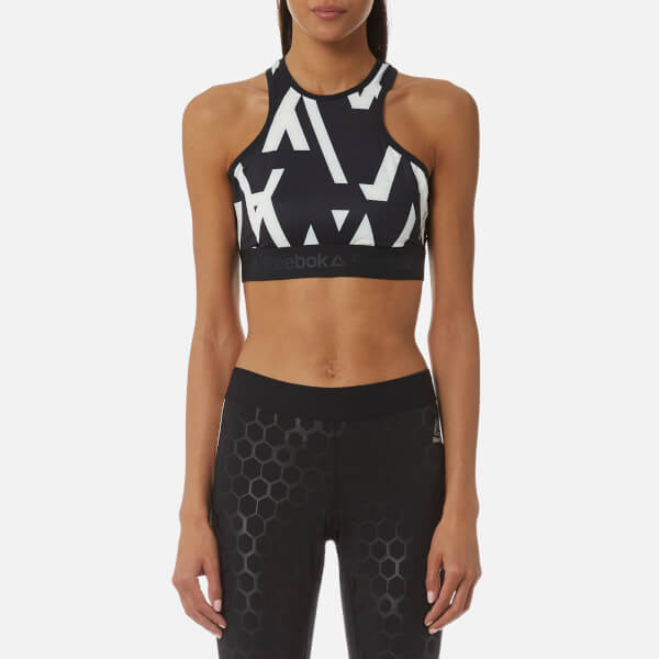 Reebok Women's Geo Print Crop Top - Black
