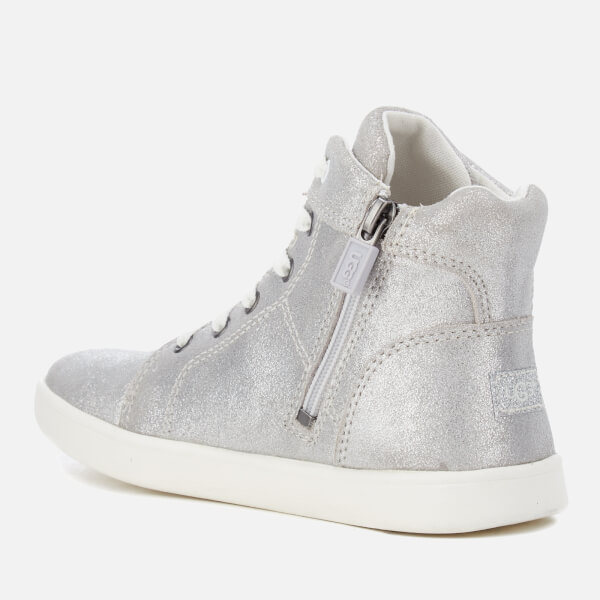 UGG Kids' Schyler Metallic Suede Hi-Top Trainers - Silver: Image 4