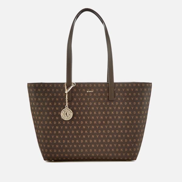 DKNY Women s Coated Logo Medium Tote Bag - Brown Logo  Image 1 52d3362718991