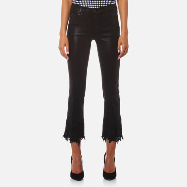 J Brand Women's Selena Mid Rise Crop Bootcut Jeans with Lace - Coated Black Lace