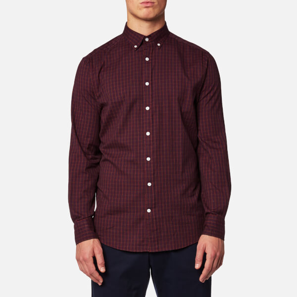 GANT Men's Windblown Oxford Check Shirt - Purple Wine