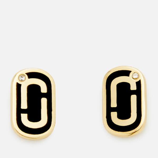 Marc Jacobs Women S Icon Enamel Studs Black Gold Image 1