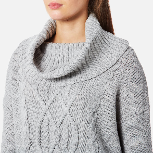 68e722417 Superdry Women s Lia Cable Cowl Neck Jumper - Grey Marl Womens ...