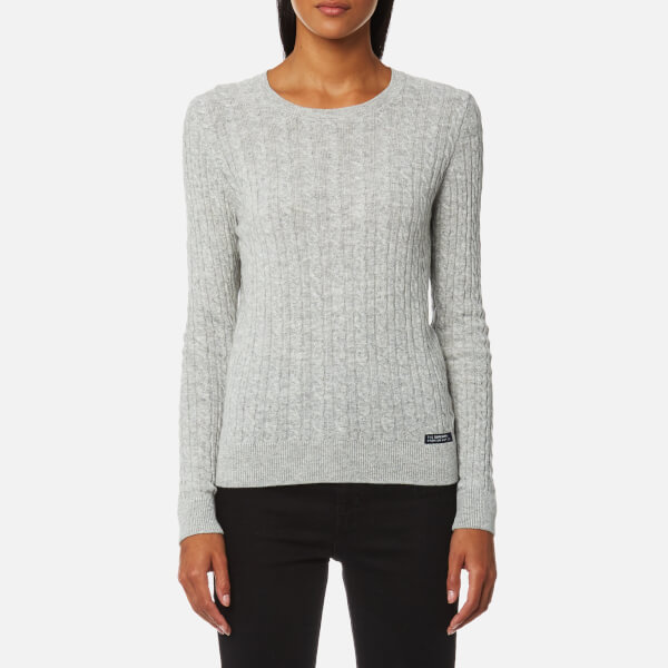 e8fc1feb2 Superdry Women s Luxe Mini Cable Knitted Jumper - Grey Marl Womens ...