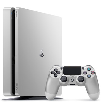 Sony PlayStation 4 Slim 500GB Console with Two DualShock 4 Controllers - Silver