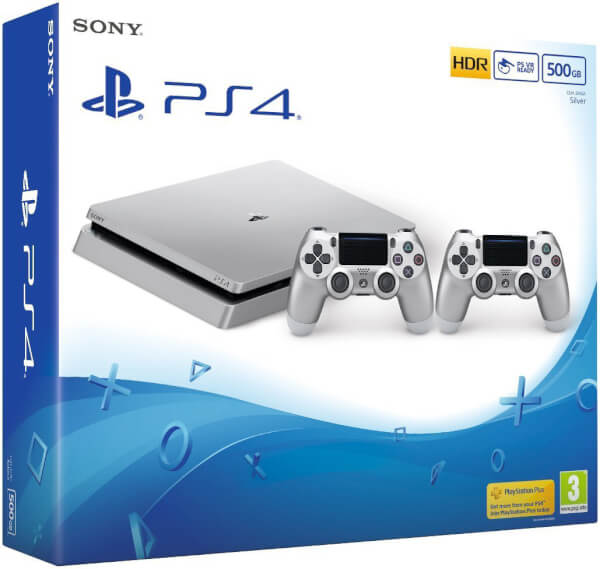Sony playstation 4 slim 500gb console with two dualshock 4 controllers silver games consoles - Console ps3 500 go pas cher ...