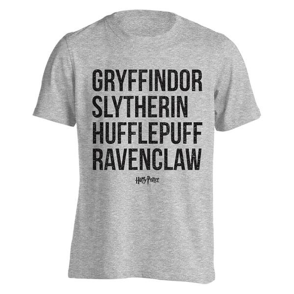 Camiseta Harry Potter Casas Nombres - Hombre - Gris