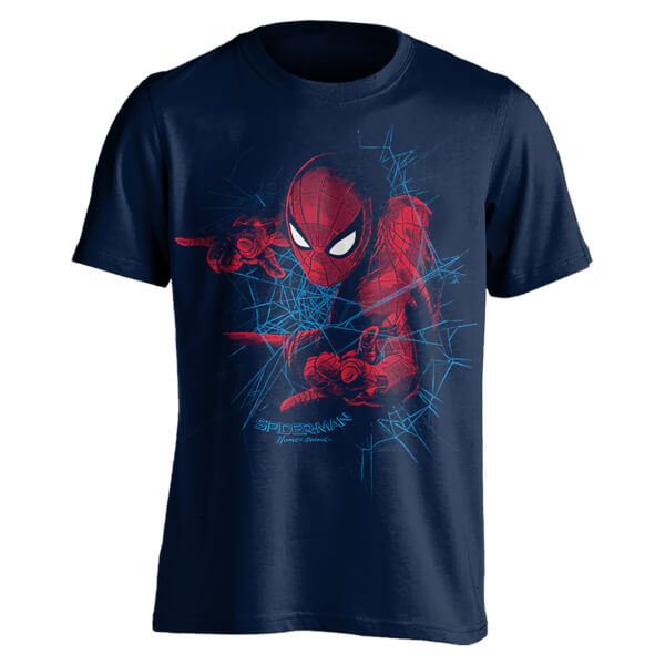 T-Shirt Homme Spider-Man Tisse sa Toile Marvel - Bleu Marine