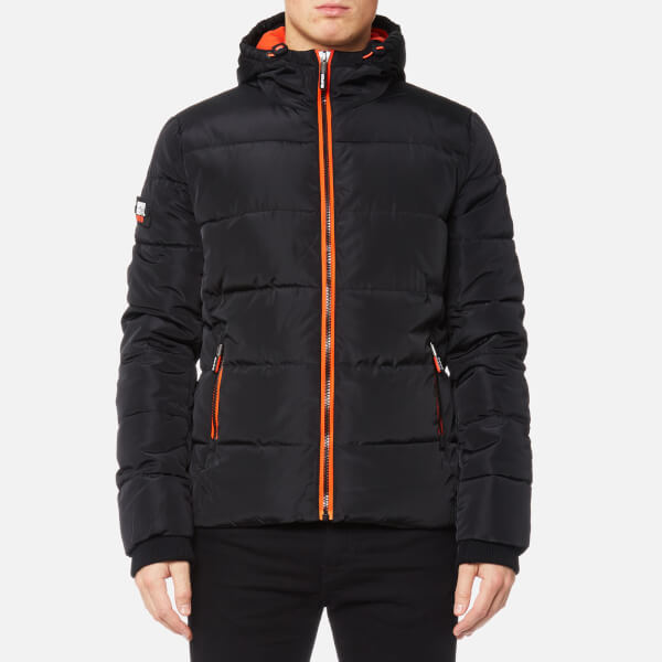 Superdry Men's Sports Puffer Jacket - Black/Vermillion